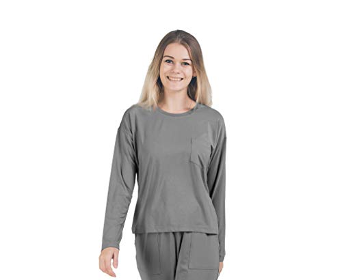 Bambus Wrap Top (Sijo Premium Bambus Damen Loungewear Tops Langarm Rundschaft Nachtwäsche Pyjs Ultra weich vielseitig Taubengrau - Grau - Large)