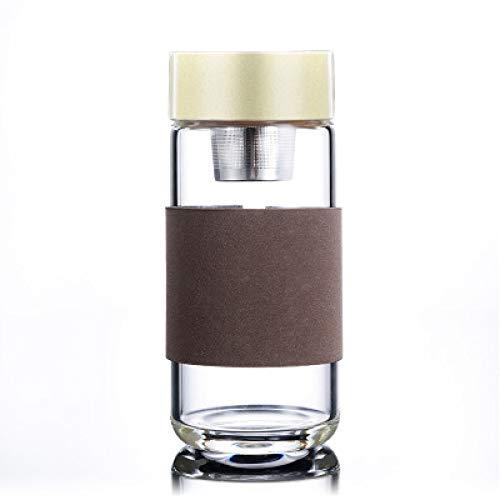 JIAOJIAN Glaswasserflasche für Männer und Frauenpaare getränkte tragbare Trinkwasserflasche des Edelstahlfilters6.8 * 16.5cm Leinen hellgrau 400ml