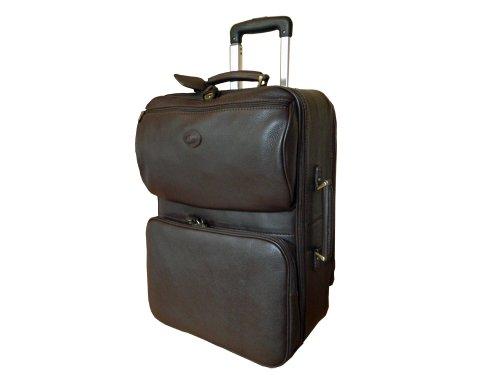 Valise de cabine en cuir foulonné, brun foncé, avec trolley