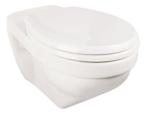 Preisvergleich Produktbild Wand-WC-Set liDano +6 cm | Erhöhtes WC | Weiß | Inklusive WC-Sitz | Für Senioren und große Menschen   Tiefspüler