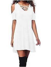 JUNHONGZHANG Womens Moda Casual T-Shirt Vestido con Bolsillo Damas De Verano con Cuello En