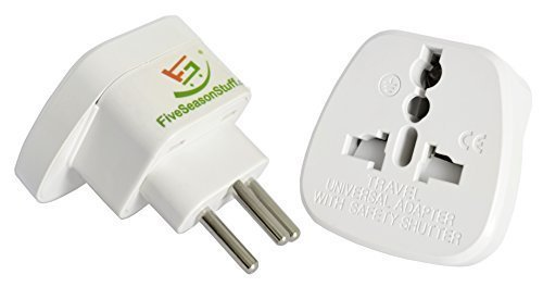 FiveSeasonStuff 1 x Reisestecker / Reiseadapter / Travel Plug / Adapter aus Deutschland / Europa Schutzkontakt Reiseadapter für Liechtenstein und Schweiz Typ J (Weiß)