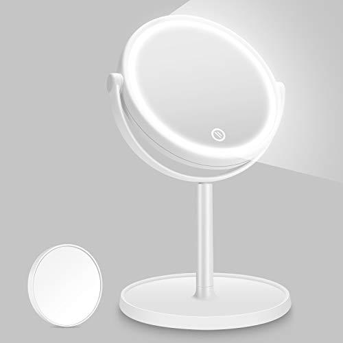 Kasimir Kosmetikspiegel mit Licht Schminkspiegel mit LED Beleuchtung Make Up led Reise Spiegel Batterie Via Touch-Screen Und 360°Rotierbarer - Weiß