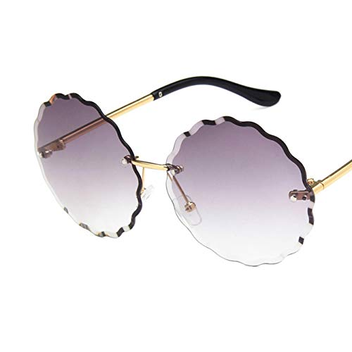 FubianG Colorful Women Ladies Retro Large Round Lens Flower Edge Gradient Color Sunglass UV400(None M Double Gray.) -