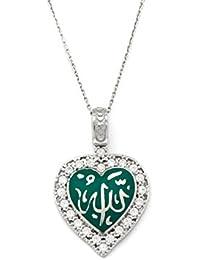 Remi Bijou 925plata de ley Collar Cadena Colgante–Corazón verde azul Alá islámico Muslim circonitas brillantes