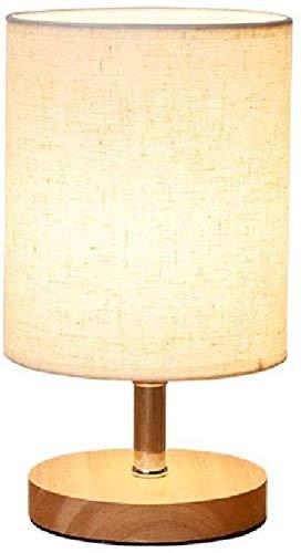 Lámpara de mesa moderna de madera redonda Lámpara de mesa de tela ...