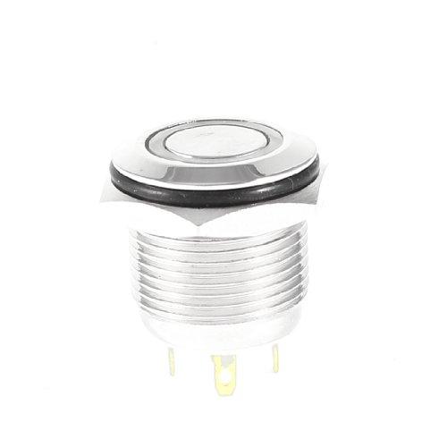 Weiß Ring LED-Licht Metall Momentane Druckknopf Schalter KEIN NC DE de ()