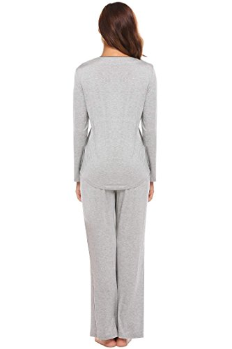 ADOME Damen Schlafanzug V-Ausschnitt lang Baumwolle herbst Winter Pyjama set Jersey Nachtwäsche warm sleepwear leicht Atmungsaktiv Grau