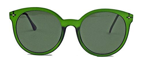 Große Sonnenbrille oder Nerd Brille im 50er 60er Vintage Look Pantobrille mit Metallbügel VN16 (Grün matt / G15)
