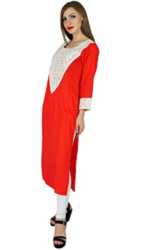 Bimba Rouge coton droite Kurta Kurti manches 3/4 formelle Tunique indienne Rouge
