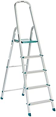 Amazon Brand -  Solimo 5-Step Foldable Aluminum Ladder, rust proof and certified by European Standard EN 131
