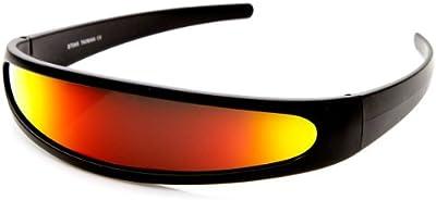 zeroUV-Narrow futurista Cyclops-Color lentes de espejo visera gafas de sol
