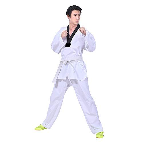 Kostüm Erwachsene Für Karate - Meijunter Taekwondo Uniform für Kinder Jugendliche Erwachsene Kampfkunst Kostüm Karate Anzug mit Weißem Gürtel Weiß 180