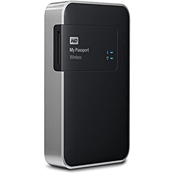 Western Digital 500GB My Passport Wireless tragbare Externe Festplatte mit SD Karten Slot Wifi, USB3.0, Kennwortschutz und USB-Zugriffssperre  - WDBLJT5000ABK-EESN