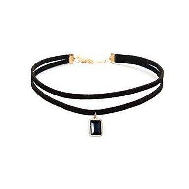 MJW&XL Damen Rechteck Gestalten Klassisch Modisch Halsketten Synthetischer Saphir Edelstein Leder Aleación Halsketten Alltag Modeschmuck , one size