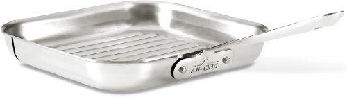All-Clad 4020 Stainless Steel 3-Ply Bonded Dishwasher Safe Grill Pan Cookware, 11-Inch, Silver