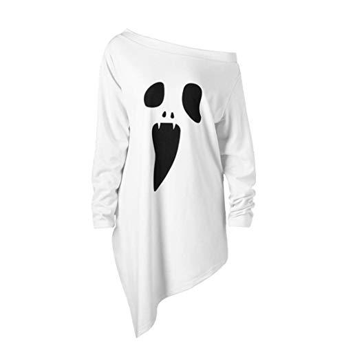 Elvis Kostüm Damen Sexy - LOPILY Halloween Shirts Sensenmann Kostüm Damen Skelette 3D Sweatshirts für Halloween EIN Schulter Sexy Party Tshirt Gruselige Horro Oberteile Damen Halloween Kostüme (Weiß, 38)