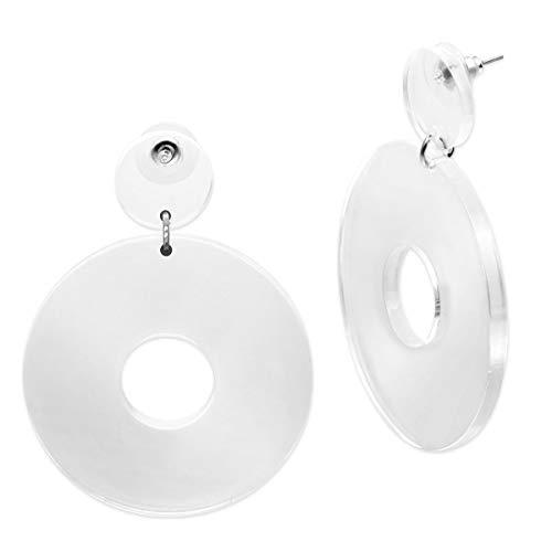 SoulCats® 1 Paar Statement Ohrhänger Creolen im Retro Style der 80er Jahre für Damen in weiß- transparent