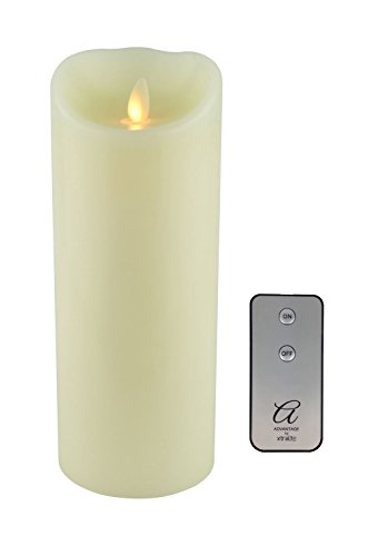 Ventaja reproducción de la llama LED vela + mando a distancia, grande, cera, crema, Large - 230mm (9'')