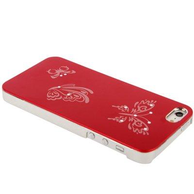 [A4E] silber eloxierte Hartschale, Hülle für Apple iPhone 5, 5S mit Schmetterling Muster in rot rot