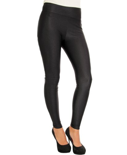 KRISP Damen Leggings Wet Look Leder Optik Discko Leggins Hose Tanzhose Glanz Satin Stretchige Damenhose Hohe Taille