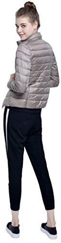 Salamaya Damen Daunenjacken Klassische Packbar Ultra Leicht Gewicht Daunenmantel Verpackbar Stehkragen Winter Kissen Mantel Khaki