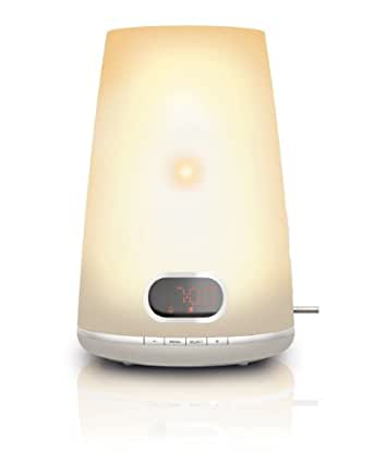 Philips HF3470/01 Wake-up Light (250 Lux, Halogenlampe, 2 Wecktöne,FM Radio) weiß