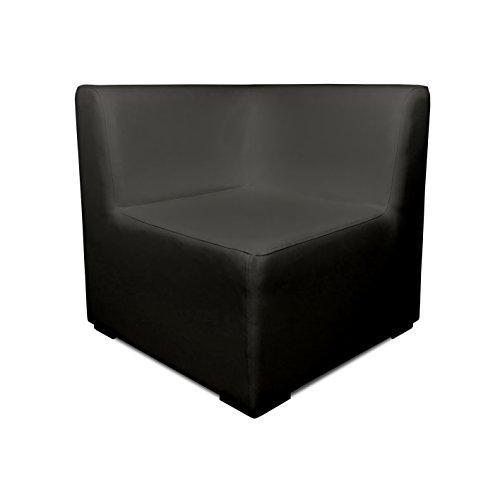 SuenosZzz-Sofa Exterior Modular Benahavis rinconera Color Ceniza tapizado en Polipiel Silva. Chill out Jardin o recepcion.