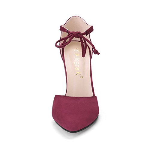Allegra K Women's Ankle Tie Burgundy Pumps – 6.5 M US