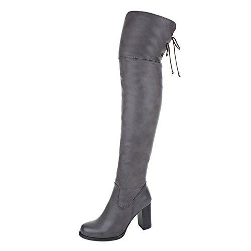 Ital-Design Overknee Stiefel Damen Schuhe Klassischer Stiefel Pump Moderne Reißverschluss Stiefel Grau, Gr 38, Ja3180-