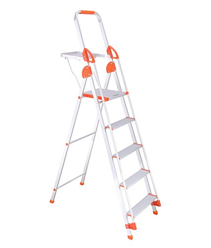 Bathla Sure Step Titanium - 122 cm (4 ft.) Foldable Aluminium Ladder with Support Hand Rails &  Pail Tray + 5-Year Warranty