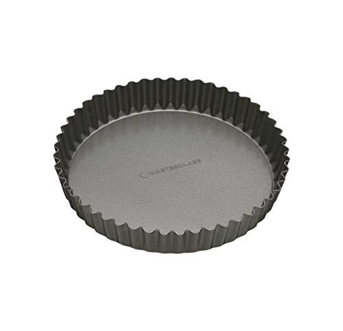Master Class Antihaft-Tortenbodenform/Quicheform mit gewelltem Rand und losem Boden, Stahl, Grau, 20 x 20 x 3.6 cm Flan Cake Pan