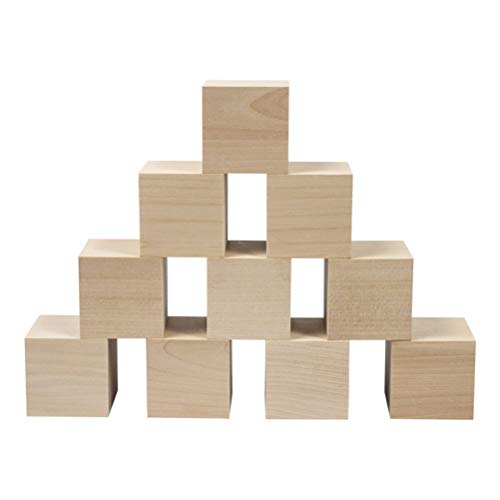 SUPVOX 12 piezas cuadrado bloques madera - 5 cm cubos