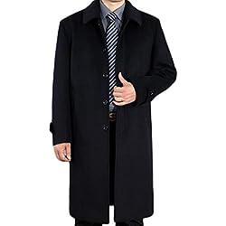 LJXWH Chaqueta de Lana para Hombre Cálida Chaqueta Cortavientos de Invierno para Hombre (Color : Negro, Tamaño : L)