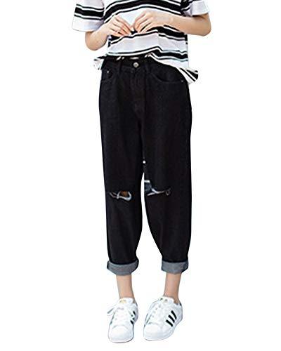 Donna jeans pantaloni larghi strappati casual boyfriend matita jeans vita alta neropd s