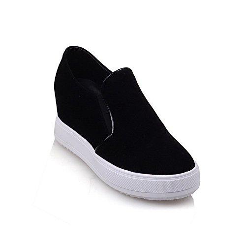 VogueZone009 Femme Tire à Talon Correct Suédé Couleur Unie Fermeture DOrteil Rond Chaussures Légeres Noir