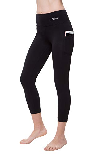 NIRLON Capri-Leggings für Damen, hohe Taille, Workout, Capris, Yoga-Hose, Übergröße, Damen, Black+Pocket 22