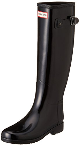 Donna Hunter Original Refined Tall Gloss La Neve Pioggia Wellingtons Stivali - Nero - 39