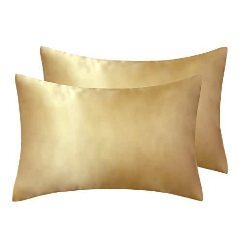 Tealp 2 pz federe in raso 100% microfibra- federe cuscino letto copricuscini coppia - federa super morbida e liscia per capelli e pelle ,50 x 75 cm ,oro