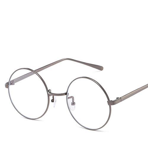Anglayif Anti-Blue-Light-Brille Retro Runde Metall Unisex Flache Brillen für Frauen Männer (Color : Gun Color, Design : Clear Lens)