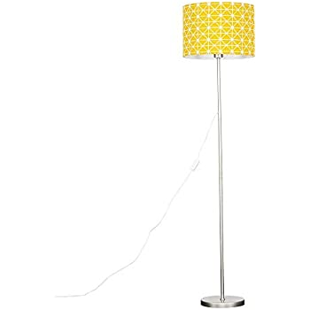 Complete with a 10w LED GLS Bulb 3000K Warm White Modern Standard Floor Lamp in a Copper Metal Finish with a Large Yellow Geometric Pattern Cylinder Light Shade