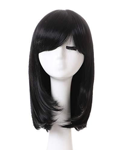 AYSAN Kurze Gerade Schwarze Perücken mit Pony Full Head Hitzebeständiges Haar Synthetische Kostüm Party Perücke für Frauen Mädchen(EINWEG)