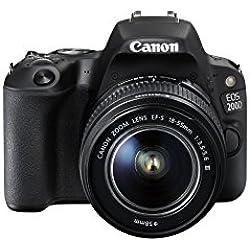 Canon EOS 200D Fotocamera Digitale Reflex, 24.2 MPx, con Obiettivo EF-S 18-55mm f/3.5-5.6 DC III, Nero
