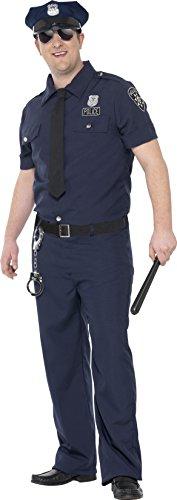 erren NYC Polizist Kostüm, Größe: XXL, blau (Cop Outfit Zu Halloween)