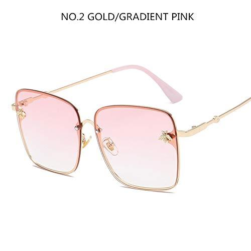Luxus Square Bee Sonnenbrille Frauen Männer Retro Markendesigner Metallrahmen Übergroße Sonnenbrille Weibliche Grandient Shades Oculos (Lenses Color : Pink)