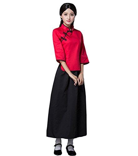 ZENGAI Bühnenkleidung Studentenausrüstung Jugendkleid Weiblich Retro Abschlusskleid Kleidungsstück rot Kostüme Frau (Farbe : Red+Black Skirt -3#, größe : ()