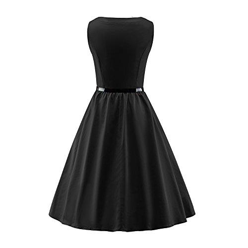 LUOUSE Damen 1950 50er Vintage Rockabilly Party Kleider Abendkleider Cocktailkleid 2-V301-black