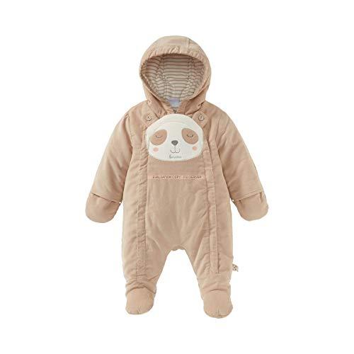 Bornino Cordoverall Panda - Baby-Overall aus Cord mit geringeltem Futter, Klappfäustlingen & -füßchen + durchgehendem Reißverschluss - braun