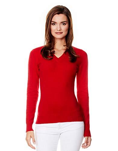 Vincenzo Boretti Damen Pullover V-Ausschnitt V-Neck modern elegant Chick edel weich Strick-Pullover rot S -