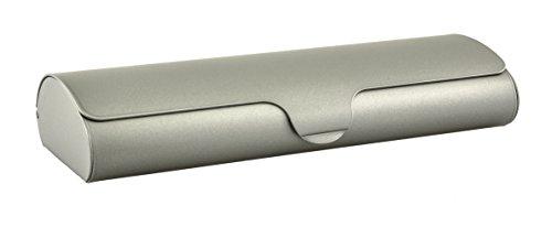 Edison & King Flaches Brillenetui mit Aluminium-Außenschale und Schnappverschluß in verschiedenen Farben und Größen (Metallic-Beige, klein) -
